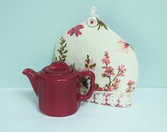 Syracuse China Restaurant Ware Maroon Teapot with a Hand Sewn Teapot Cozy Made from a Pretty 1940's Floral Pattern Bark Cloth Textile