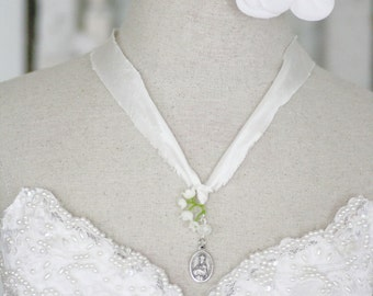 Our Lady of La Salette - Lady of Prayer and Grace - a white silk prayer ribbon - last few available
