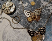 Steampunk Mechanical Butterfly Necklace, Made in USA