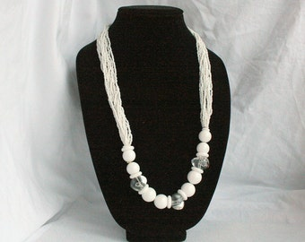 White Bead Chunky Necklace Multi Strand Vintage Seed Beads Clear Lucite Abstract Beaded