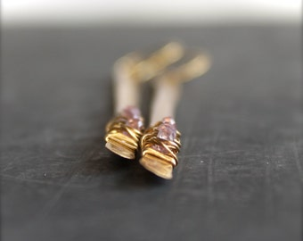 Gold Brass Pink Amethyst Stick Dangle Earrings Wire Wrap Metalwork Long Shoulder Duster Gemstone Boho Jewellery