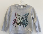 OOAK Rainbow Kitty Children's Sweatshirt