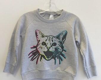 OOAK Rainbow Kitty Children's Sweatshirt