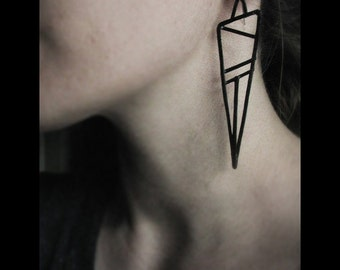 Geometric Earrings - Copper - Black Finish - Slice Design - handmade in Austin, Tx