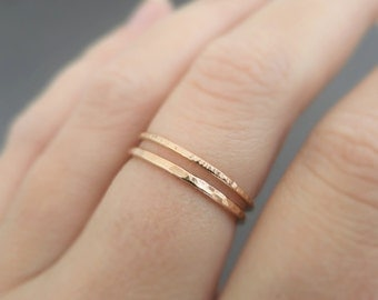Rose Gold Rings 2 super slim stackable rings - thumb ring - midi ring - knuckle ring or pinky ring