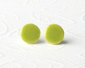 Petite Porcelain Earrings. Round. Lime Green. Ceramic. Chartreuse. Apple. Yellow Green. Clay. Mini. Studs. Disk. Surgical Steel. Comfortable