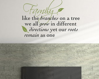Vinyl Wall Decal - Family like the Branches on a Tree - family vinyl decal -  family tree - family room decal