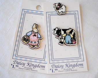 3 Vintage Realistic Buttons - Daisy Kingdom Button - Bunnies, Cow and Sheep - Goofies