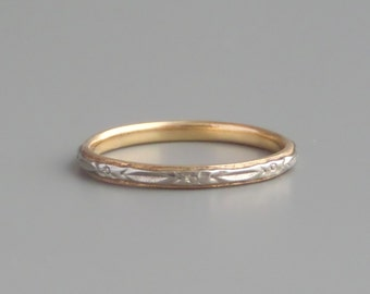 1940s Eternity Ring. 14k White & Yellow Gold. Wedding Band. Stacking. Large.