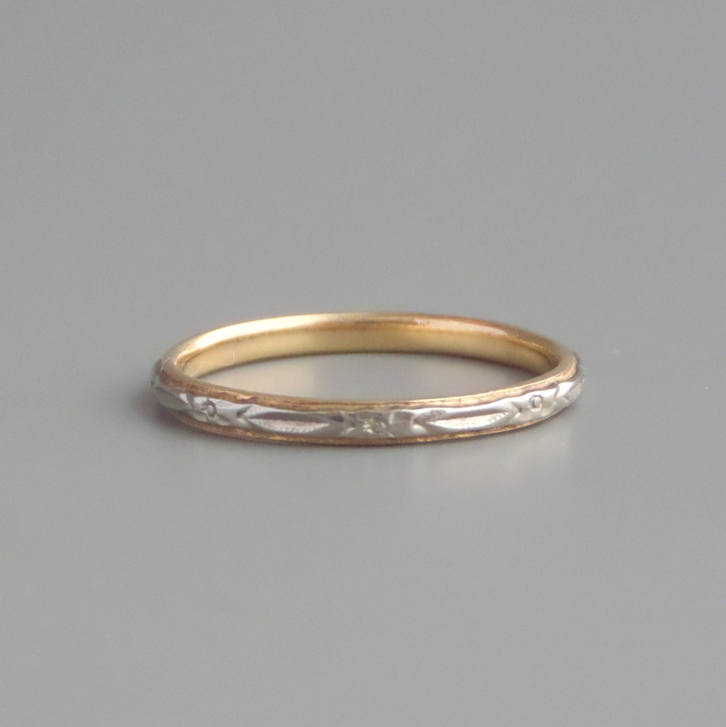 1940s eternity ring 14k white yellow gold wedding by