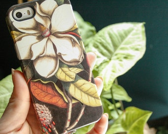 Magnolia iPhone 7 Case, Vintage Floral Botanical iPhone SE, iPhone 6S, Samsung Galaxy Cover, Flower iPhone 6 Plus Case