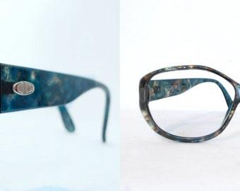 Vintage HUGE Big Dior NOS Eyeglass Frame and Foiled / Mod Designer Christian Dior Sunglasses / Germany. Golden. Blue Green. Tortoise Shell.