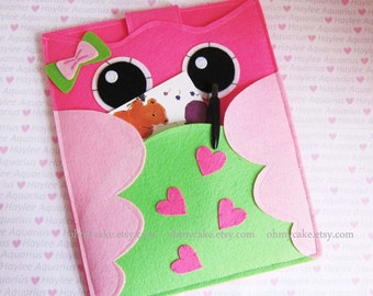 "iPad Sleeve, iPad Case, Felt iPad sleeve, Felt iPad case, iPad felt sleeve, iPad cover, iPad Air sleeve, iPad Air case, ""pink & green owl"""