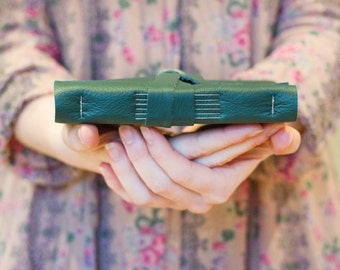 Leather Book - Bottle Green - A6 Handbound Blank Leather Journal - 6 x 4 - A6