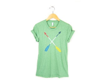 Painted Arrows Tee - Boyfriend Fit Crew Neck T-shirt with Rolled Cuffs in Heather Green & Primary Colors - Women's Size S-4XL