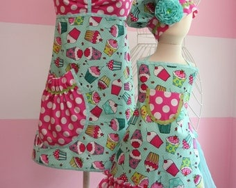Mother/Daughter Matching Aprons - Teal & Pink Cupcake