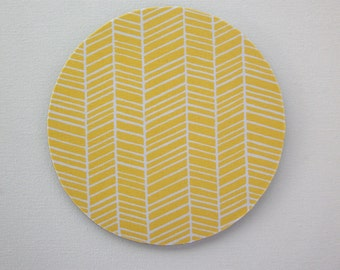 Mouse Pad mousepad / Mat - Round or rectangle -  herringbone chevron white on yellow home office decor accessory coworker gift