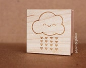 Kawaii Rain Cloud and Hearts Self-Inking or Wood Rubber Stamp