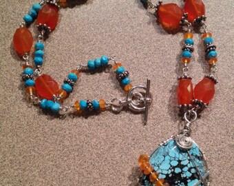 Turquoise Necklace, Spiderweb Turquoise Necklace, Carnelian Necklace, Southwestern Necklace, Santa Fe Style Necklace, Blue & Orange Necklace