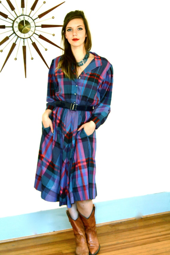 Vintage Plaid Western Dress 80s Blue Red Black Checkered Cotton Button Down Long Sleeve Full Sweep Skirt 1980s Southwest Cowgirl Shirt Dress