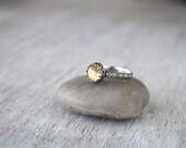 Citrine Ring -  Sterling Silver Citrine Gemstone Ring - November Birthstone Ring  -  Yellow Gemstone Ring