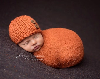 Newborn Pumpkin Hat, Fall Newborn Hat Boy, Baby Hat Newborn Boy Hat Newborn Photo Prop Boy Newborn Props Boy Knit Newborn Hat Newborn Beanie