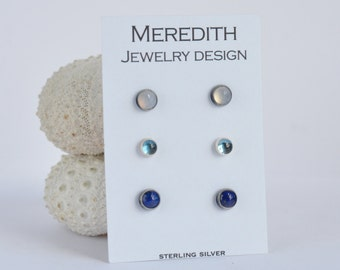 sterling silver stud earrings natural blue chalcedony, lab grown zircon, and lapis trio three pairs