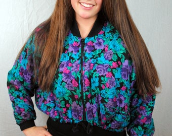 Vintage 80s Cropped Floral Jacket