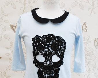 SALE Blue skull tee top lace peter pan collar  M