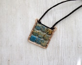 Square Pendant Boho plaid pendant Natural blue gemstone pendant.