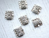 6 Vintage 1950s Silver Rhinestone Necklace Push Clasps// Four Strand Attachments