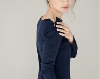 Office dress | Navy blue zipped dress | Pocket dress | LeMuse dress