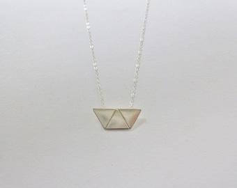 Sterling silver trapezium necklace