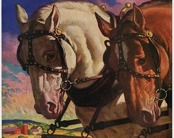 antique farm horses illustration digital download