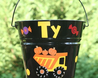 Personalized Halloween bucket for boys - Dump Truck with pumpkins