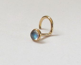 Moonstone Stud 14k Solid Yellow Gold or Rose Gold Nose Ring or Single Earring SPECIAL SALE