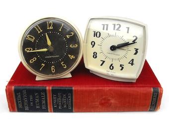 1950s Westclox Clock Set Mid Century Industrial Wind Up Alarm Clocks Vintage Art Deco Mod Black & White Home Decor Retro Mad Men Office Desk