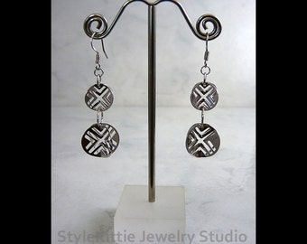 925 Sterling Silver, Double Dangle Earrings, Lightweight, Round Cut Out Disc, X Design, Optical Illusion, X and O, Rhodium Plated, Jewelry