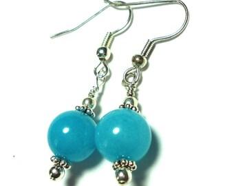 Amazonite Earrings AAA Quality Bright Turquoise Blue Peruvian Amazonite Earrings Bright Aqua Earrings in Sterling