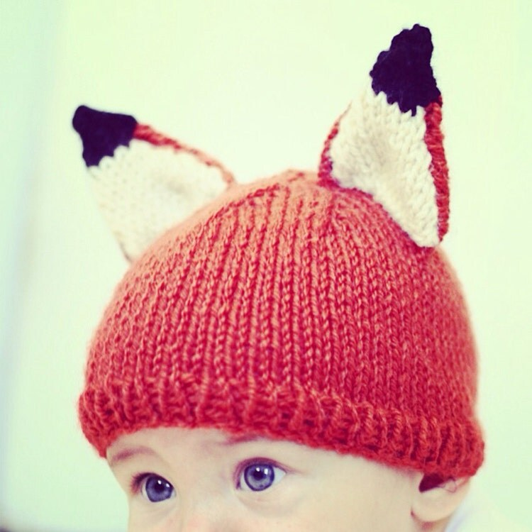 Knitting Pattern Fox Hat : Knit Fox Hat Pattern Knitting PDF Instant download by abhayafibers