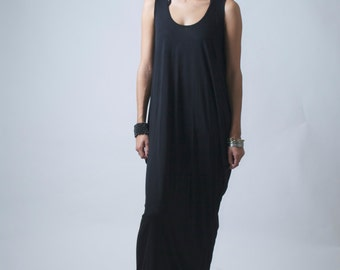 Long Maxi Kaftan Dress / Casual Dress / Sleeveless Maxi Dress / Jersey Summer Dress / Oversized XL Dress by marcellamoda - MD009
