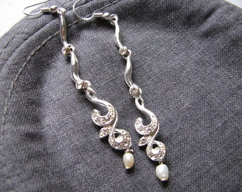 Silver long earrings | sterling silver | wave | bridal pearl | dangle | formal | pearl and crystal
