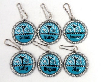 girls gymnastics party favors, blue zebra party favors,personalized backpack zipper pulls custom charms - blue zebra print or custom color