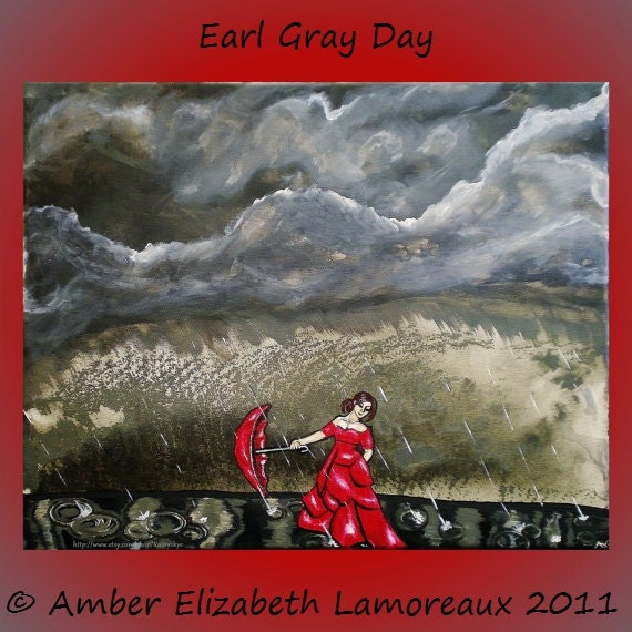 Fine Art Giclee Print of Original Painting Earl Gray Day Amber Elizabeth Lamoreaux Surreal Art Modern Dancing in the Rain Grey Red