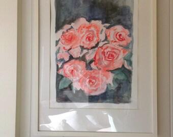 Original Watercolor Painting - Pink Roses