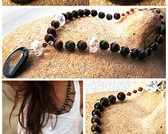 Boho Jewelry Gift Long Beaded Necklace Natural Stone Bohemian Necklace Agate Statement Necklace Gemstone Pendant Large Necklace Dark Brown