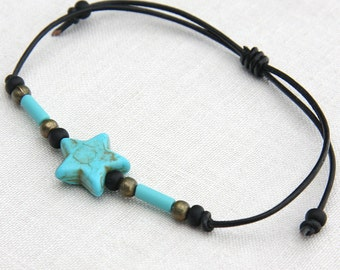 My Lucky Star, Make a Wish, Minimal Bracelet, Star Bracelet, Friendship Bracelet, Leather Bracelet Blue Turquoise Stacking Bracelet Bohemian