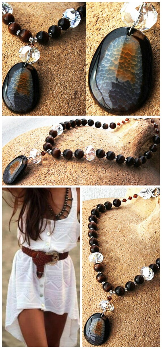 Bohemian Necklace, Agate Statement Necklace, Dragon Vein Gemstone Pendant, Large Necklace, Dark Chocolate Brown Cats Eye Necklace OOAK