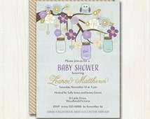 Mason Jars Baby Shower Invitation - Digital Printable Invitation -  Mauve and Pale Blue Hanging Mason Jars 0126