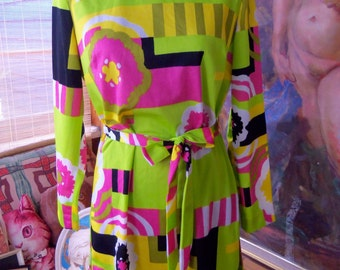 60s OLEG CASSINI--Mod Mini Dress--Neon Brights--Color Blocks and Flowers--Belted--Signed Fabric--Size 12